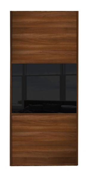 Wideline sliding wardrobe door, Walnut frame, Walnut-Black-Walnut